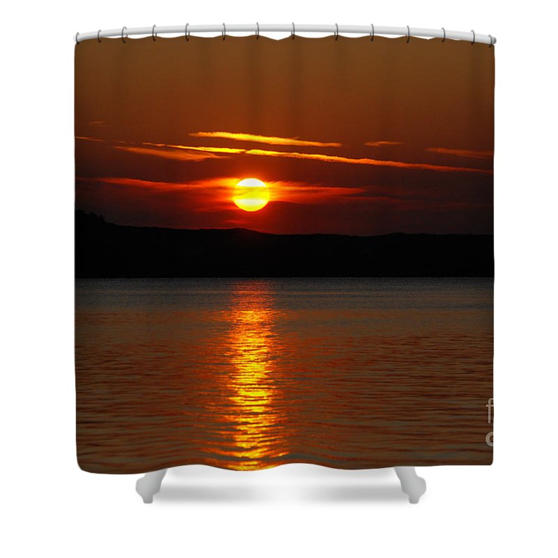 Silver Lake Sand Dunes Shower Curtain featuring the photograph Sunset Over Silver Lake Sand Dunes by Grace Grogan