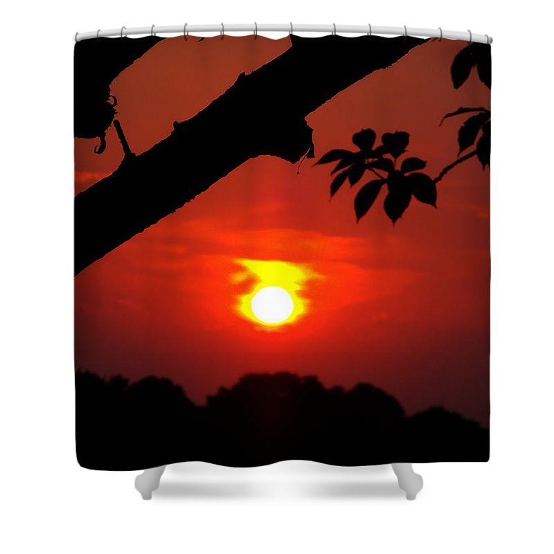 Sunset Shower Curtain featuring the photograph Sunset Over The Golf Course by Kimberly Perry