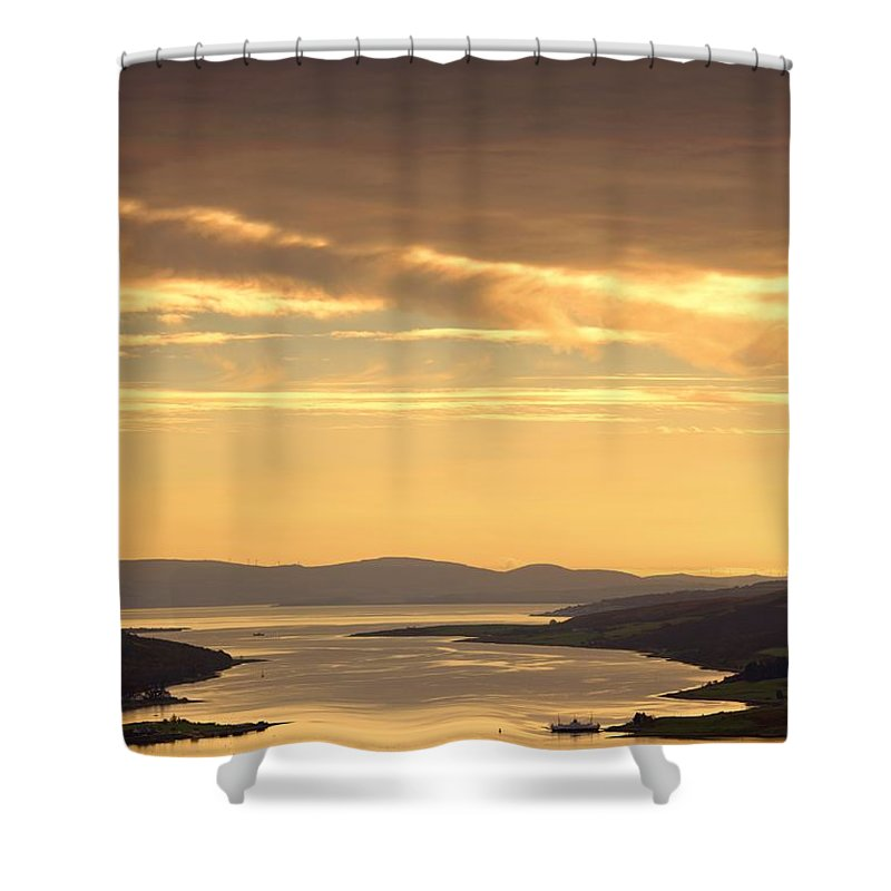 Atmosphere Shower Curtain featuring the photograph Sunset Over Water, Argyll And Bute by John Short