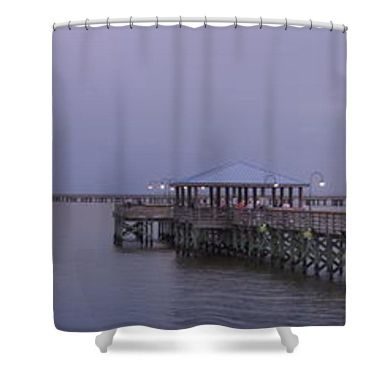 Pier Shower Curtain featuring the photograph Sunset Point Pier by Anthony Walker Sr