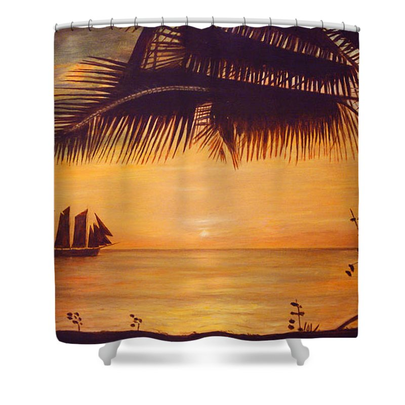 Silhouette Shower Curtain featuring the painting Sunset Silhouette by Ronald Haber