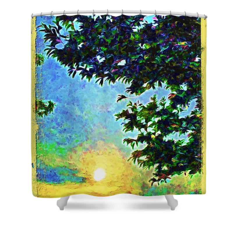 Sunset With Leaves Shower Curtain featuring the photograph Sunset With Leaves by Joan Minchak