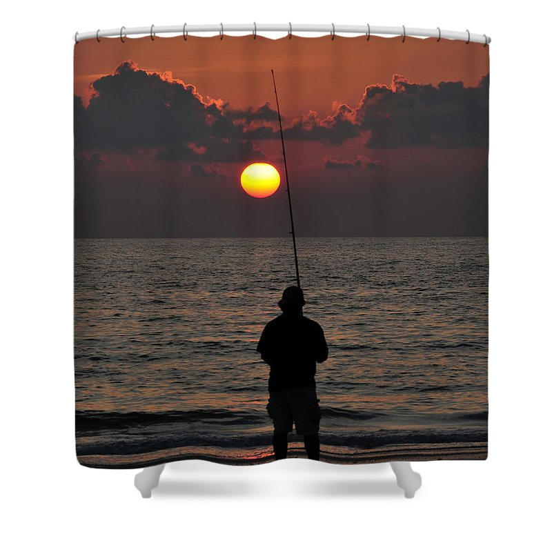 Fine Art Photography Shower Curtain featuring the photograph Surf Fishing 1 by David Lee Thompson