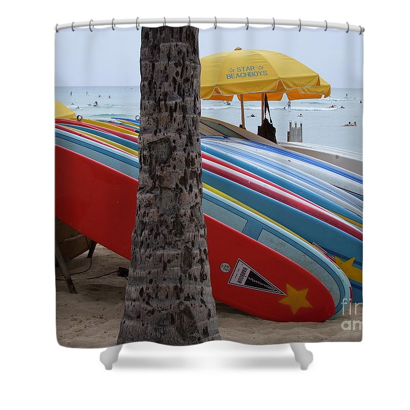 Mary Deal Shower Curtain featuring the photograph Surfboards On Waikiki Beach by Mary Deal