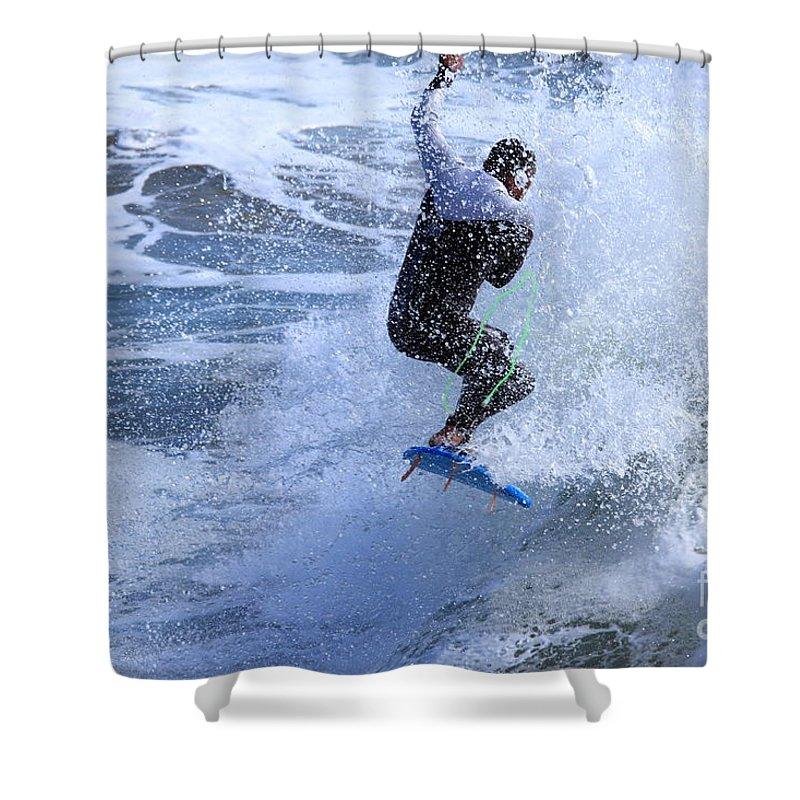 Surfing Shower Curtain featuring the photograph Surfer by Henrik Lehnerer