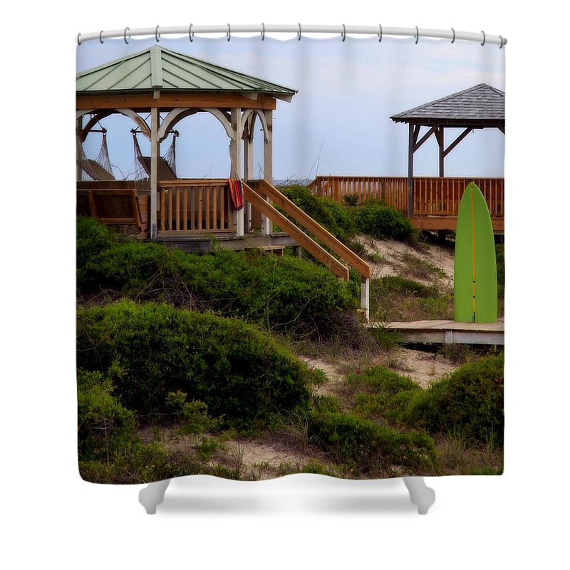 Surfing Shower Curtain featuring the photograph Surfs Up by Karen Wiles