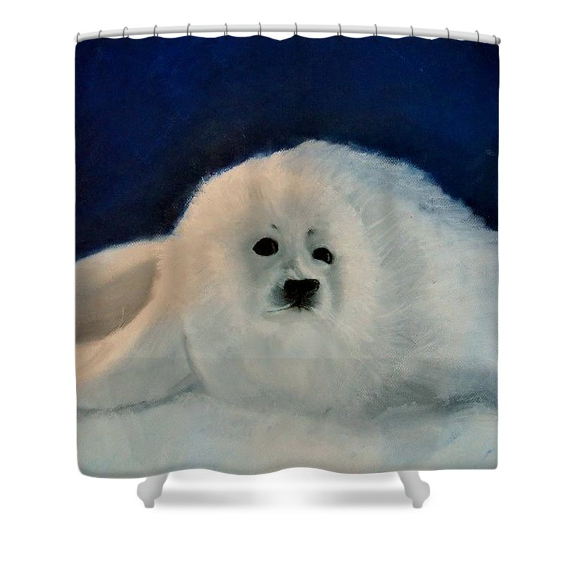 Christmas Shower Curtain featuring the drawing Sweet Little Winter Seal Pup Of My Soul by AE Hansen