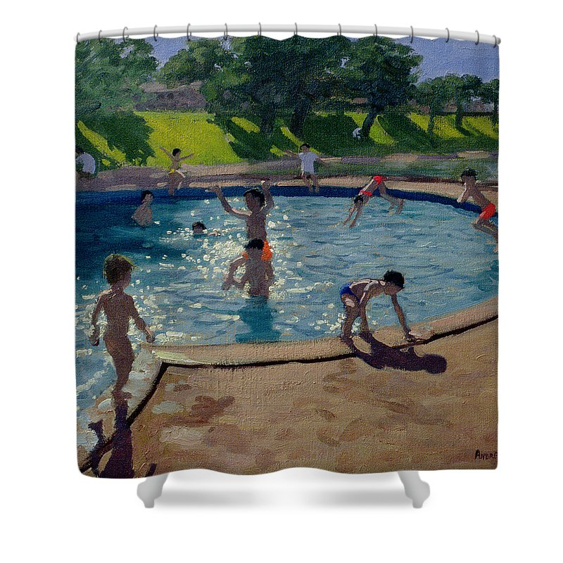 Summer Shower Curtain featuring the painting Swimming Pool by Andrew Macara