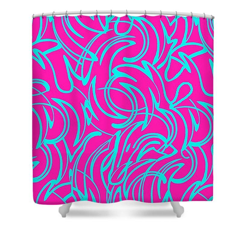 Swirls (digital) By Louisa Knight (contemporary Artist) Shower Curtain featuring the digital art Swirls by Louisa Knight