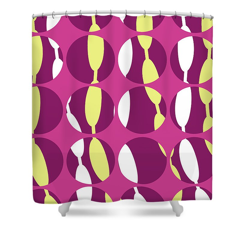 Louisa Knight Shower Curtain featuring the digital art Swirly Stripe by Louisa Knight