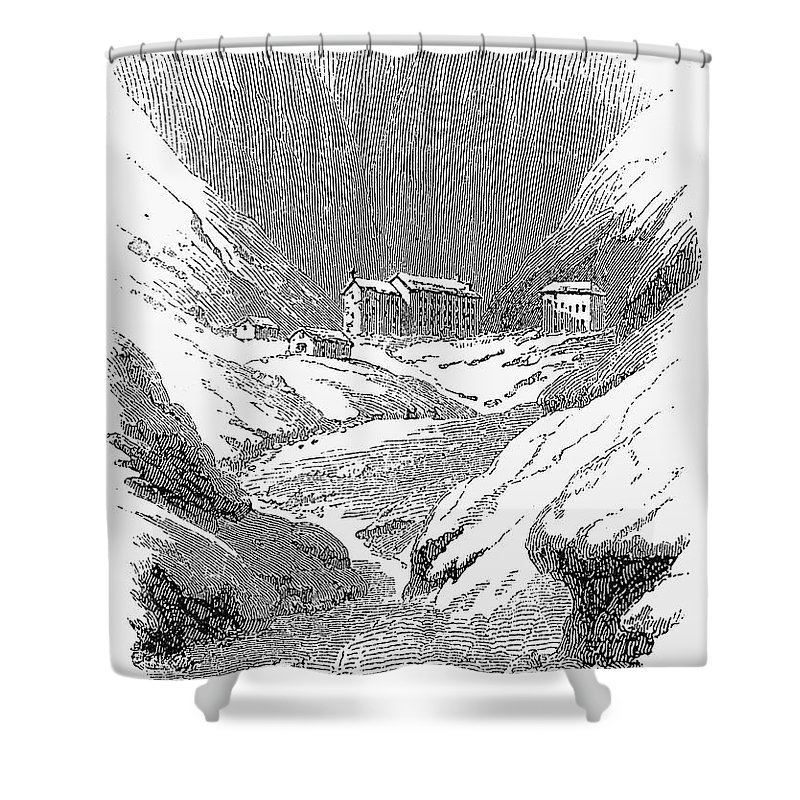 1843 Shower Curtain featuring the photograph Switzerland: Convent, 1843 by Granger