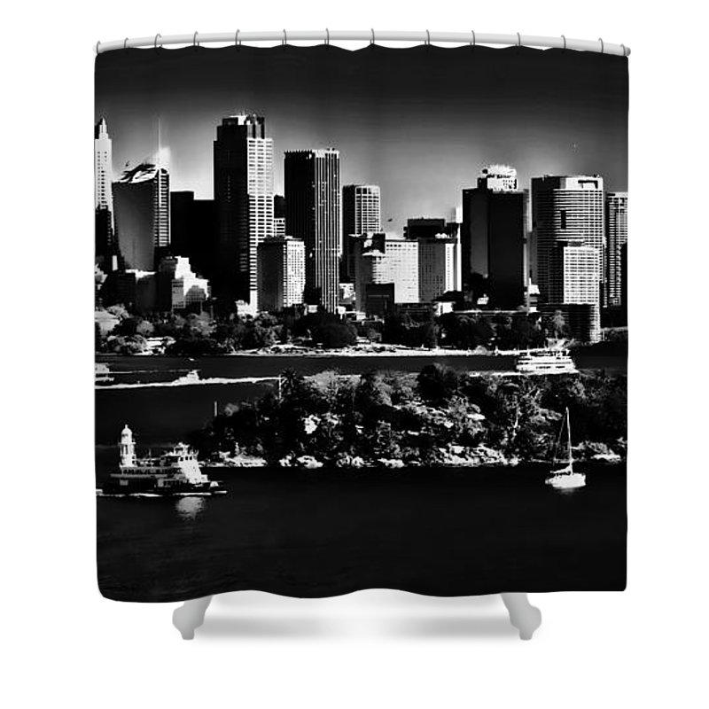 Sydney Harbour Monochrome Shower Curtain featuring the photograph Sydney Harbour Monochrome by Sheila Smart Fine Art Photography