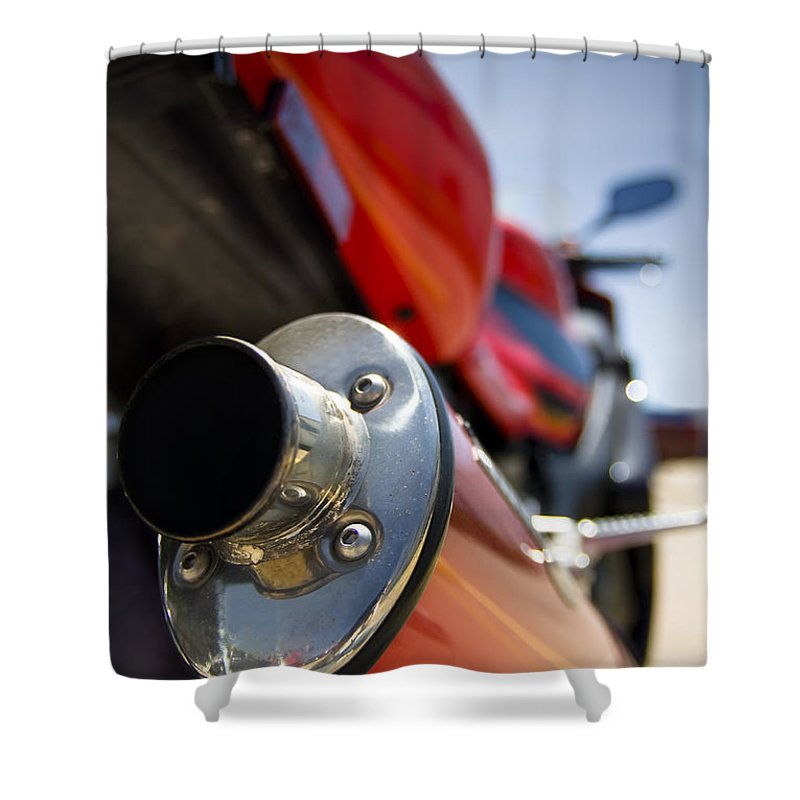 Background Shower Curtain featuring the photograph Tailpipe by Ricky Barnard