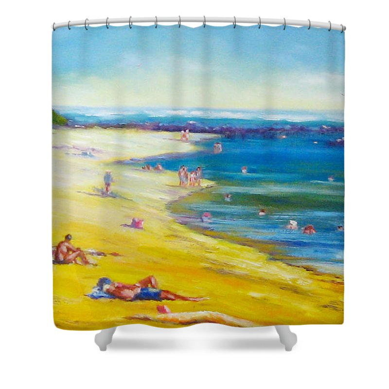 Beaches Shower Curtain featuring the painting Taking It Easy At Coloundra Beach Queensland Australia by Diane Quee