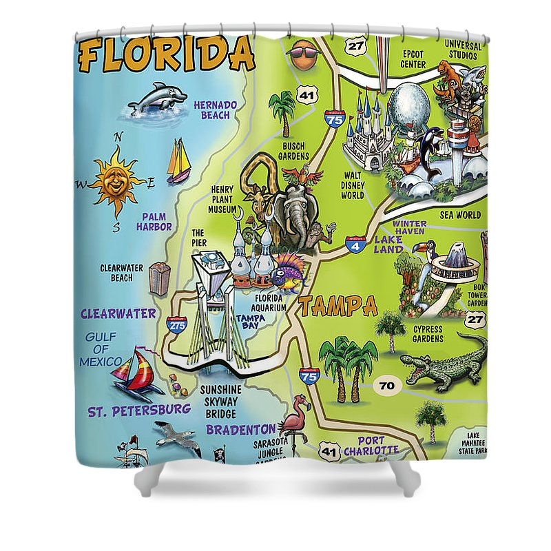 Tampa Shower Curtain featuring the painting Tampa Florida Cartoon Map by Kevin Middleton