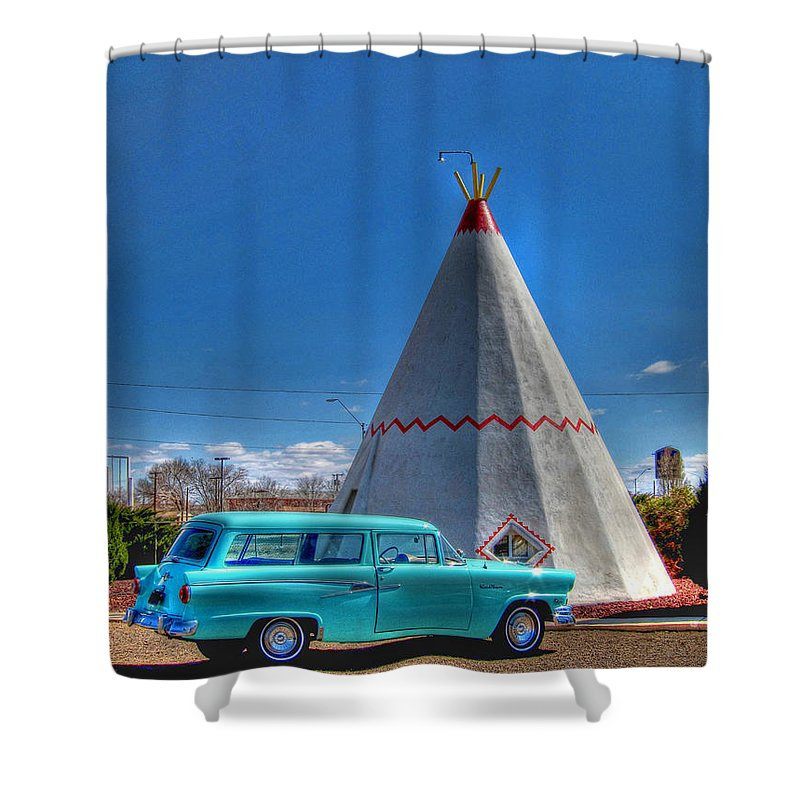 Wigwam Motel Shower Curtain featuring the photograph Teepee On Route 66 by Tommy Anderson