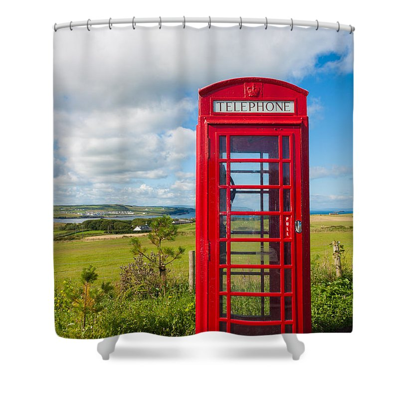 Blue Shower Curtain featuring the photograph Telephone Anyone by Semmick Photo
