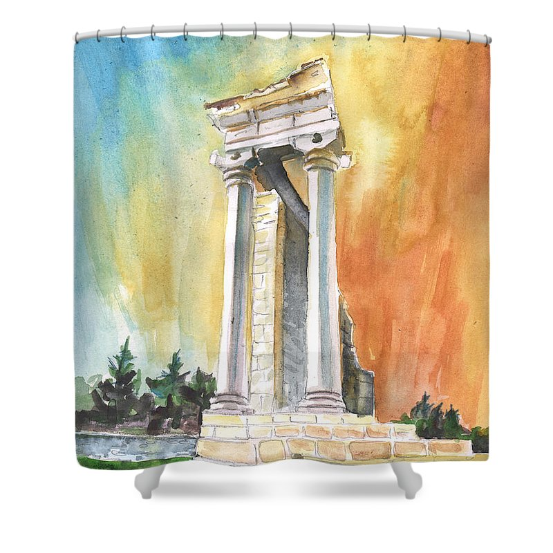 Travel Shower Curtain featuring the painting Temple Of Apollo In Kourion by Miki De Goodaboom