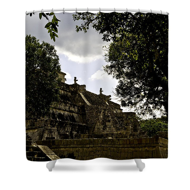 Chichen Itza Shower Curtain featuring the photograph Temple Of The Warriors Two by Ken Frischkorn