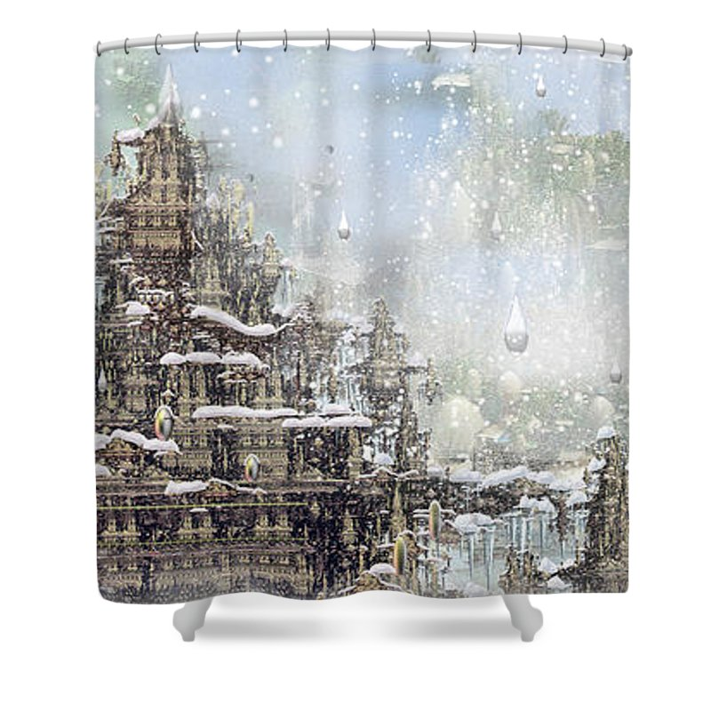 Phil Sadler Shower Curtain featuring the digital art Temples Of The North by Phil Sadler