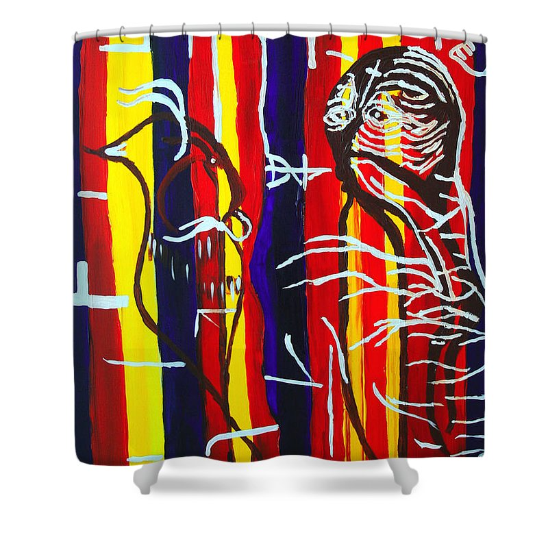 Jesus Shower Curtain Featuring The Painting Temptation Of By Gloria Ssali