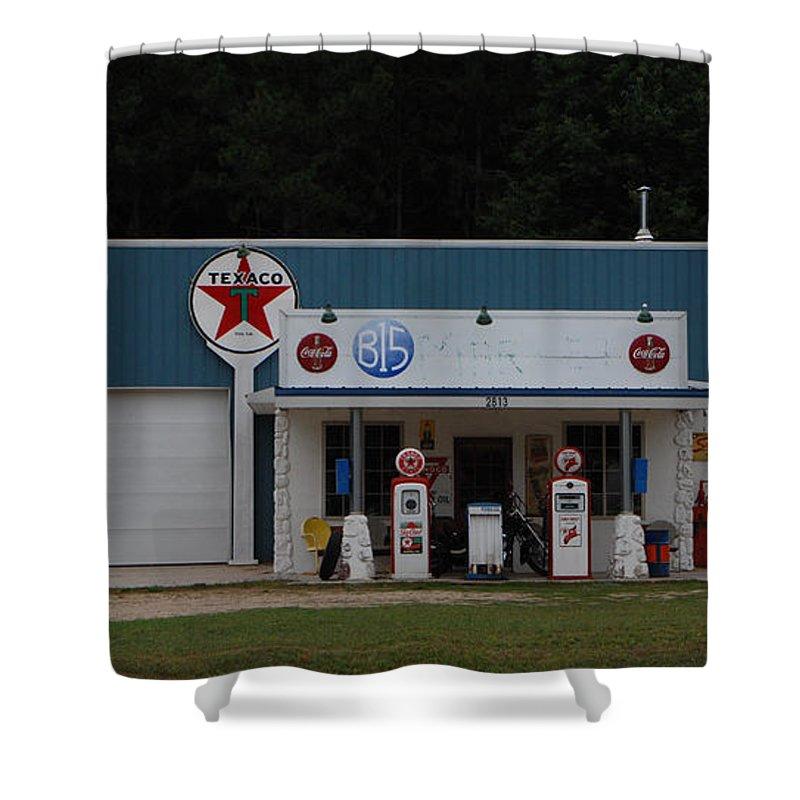 Texaco Shower Curtain featuring the photograph Texaco Gas Station by Grace Grogan