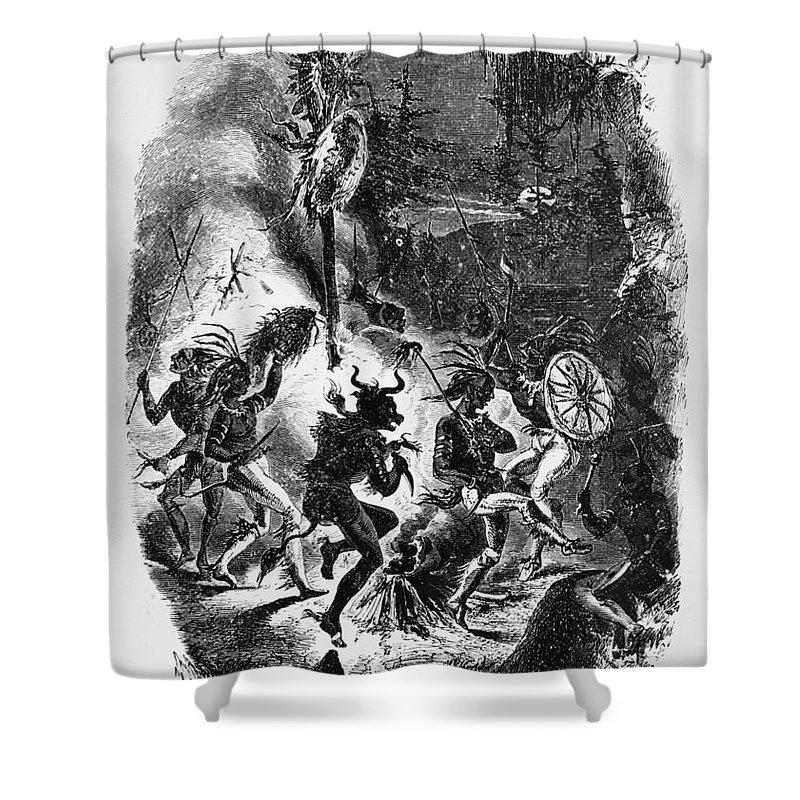 1840s Shower Curtain featuring the photograph Texas: War Dance by Granger