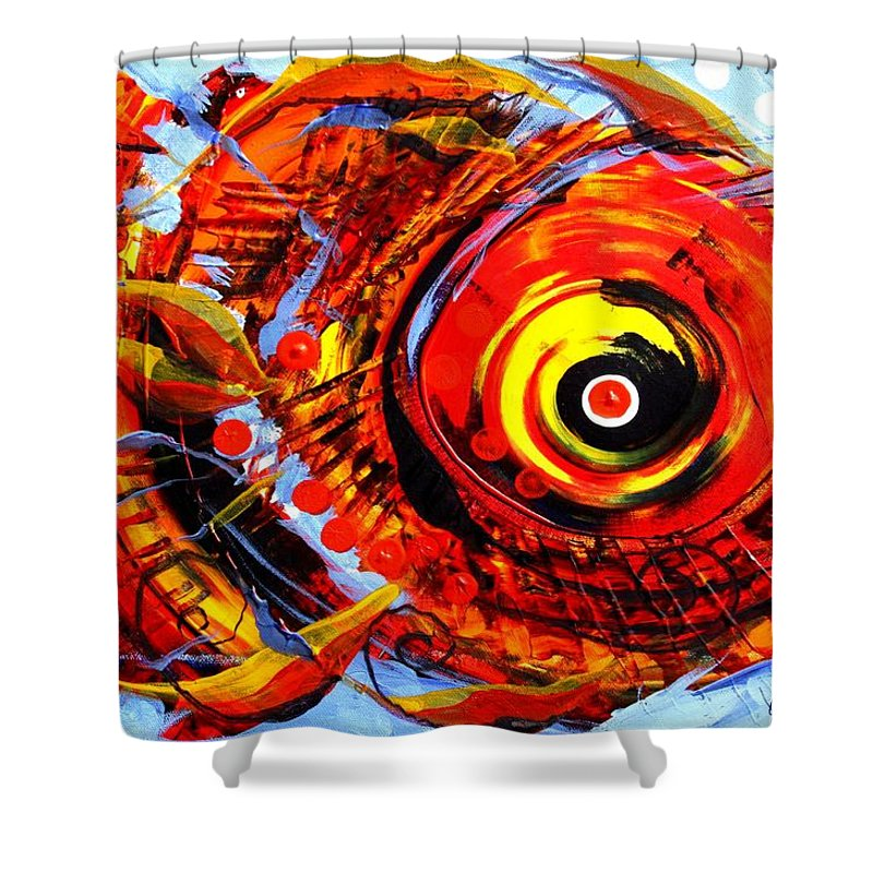 Fish Shower Curtain featuring the painting Textured Red Fish by J Vincent Scarpace