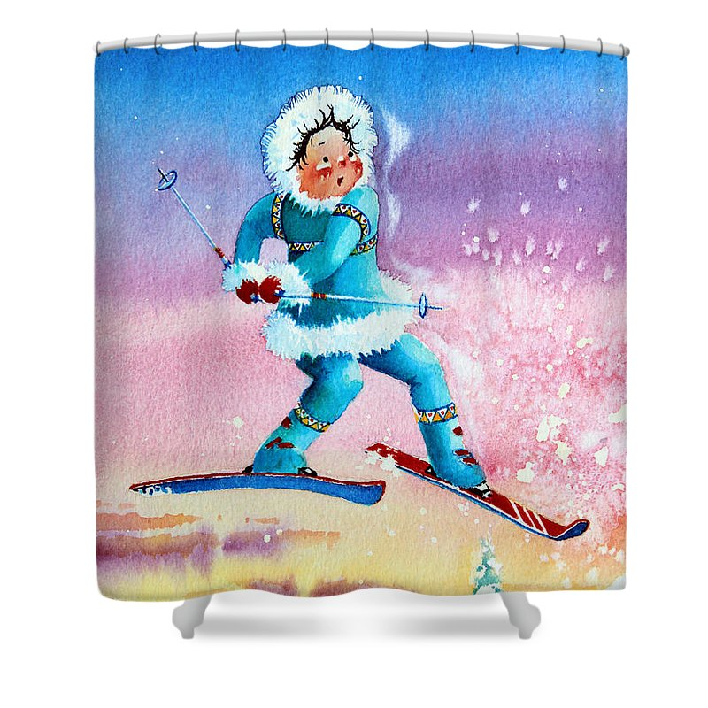 Kids Art For Ski Chalet Shower Curtain featuring the painting The Aerial Skier - 8 by Hanne Lore Koehler
