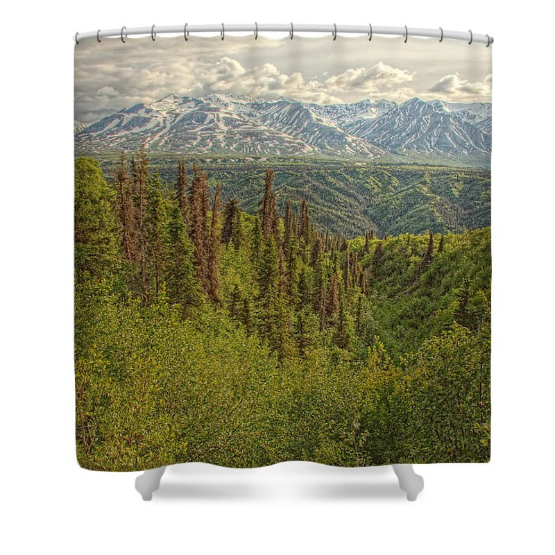 Light Shower Curtain featuring the photograph The Alsek Mountains Along The Haines by Robert Postma