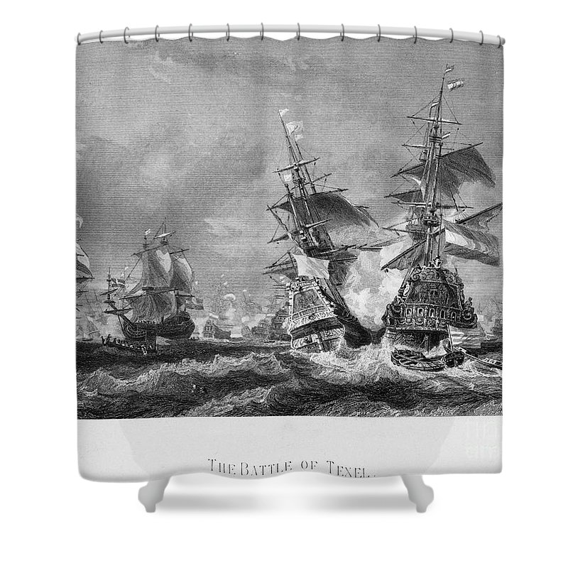 1673 Shower Curtain featuring the photograph The Battle Of Texel, 1673 by Granger