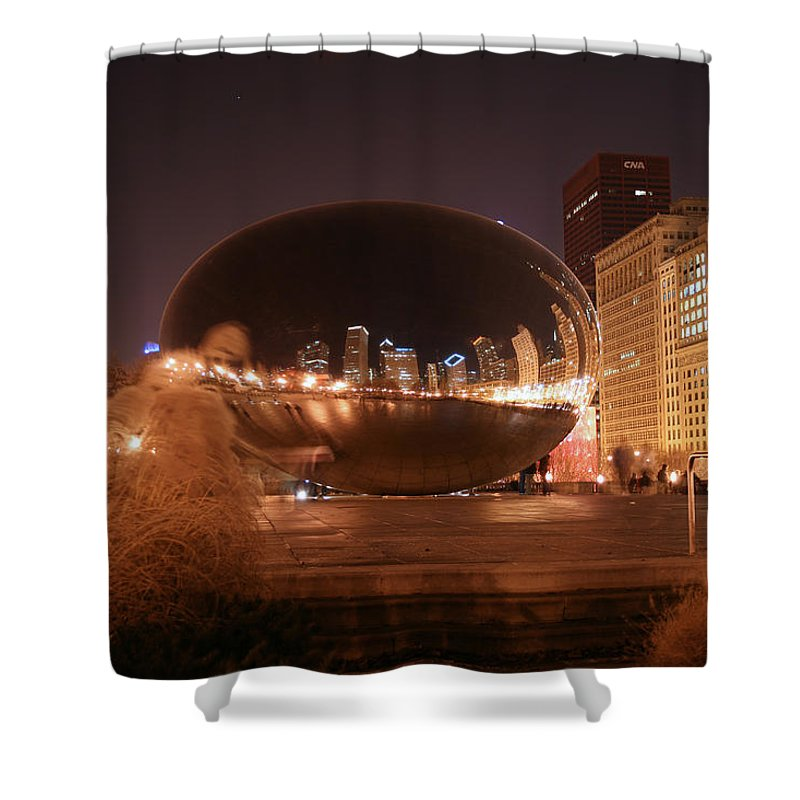 Bean Shower Curtain featuring the photograph The Bean On A Winter Night by Laura Kinker