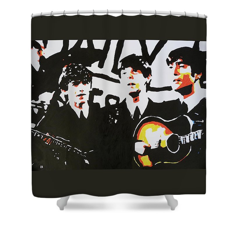 Music Shower Curtain featuring the painting The Beatles by Paula Sharlea