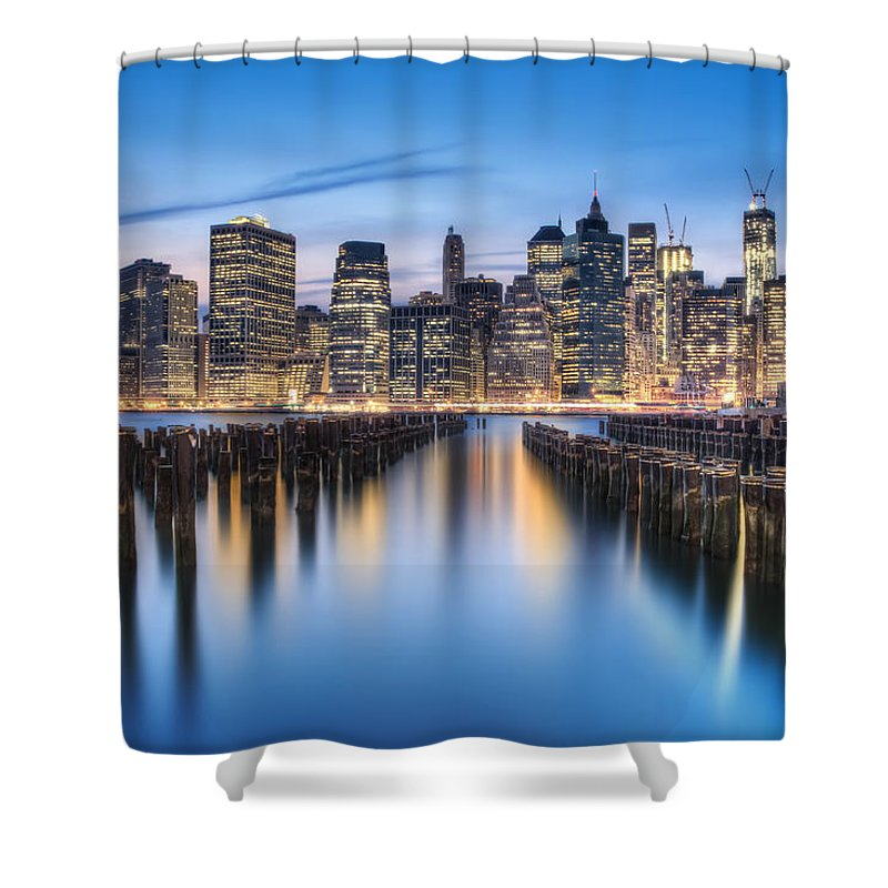 Manhattan Shower Curtain featuring the photograph The Blue Hour by Evelina Kremsdorf