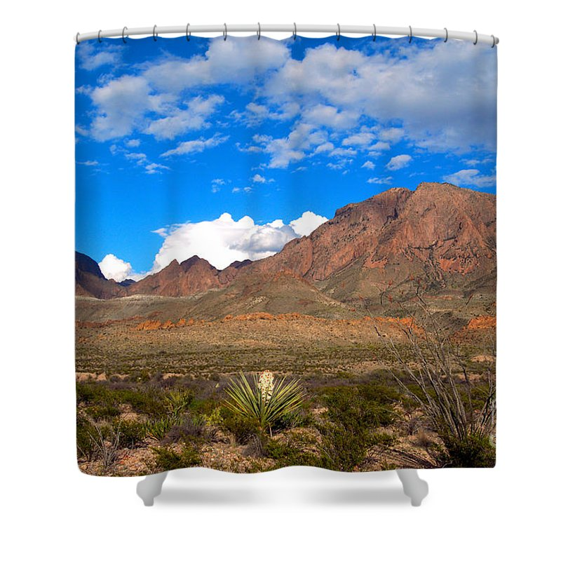 Chisos Mountains Shower Curtain featuring the photograph The Chisos Mountains Big Bend Texas by Gregory G Dimijian MD