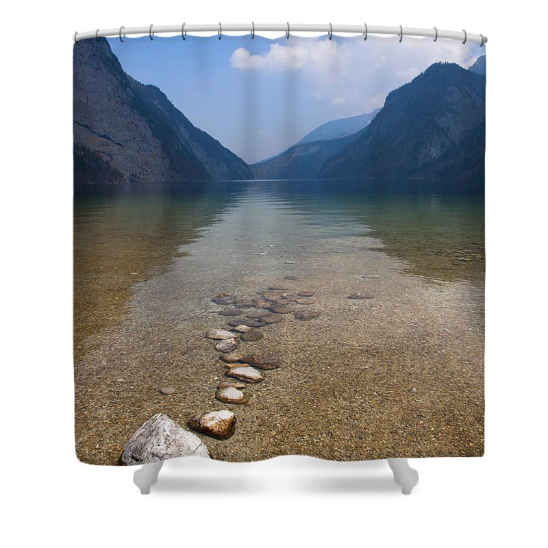 Alps Shower Curtain featuring the photograph The Clear Waters Of King's Lake by Andrew Michael