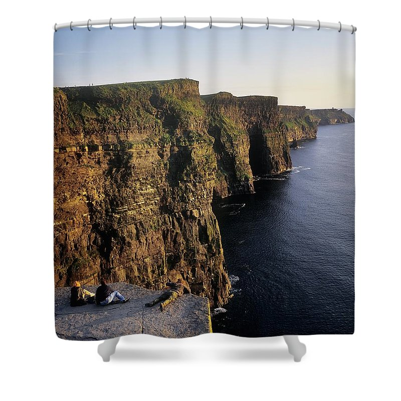 Atlantic Shower Curtain featuring the photograph The Cliffs Of Moher, County Clare by The Irish Image Collection