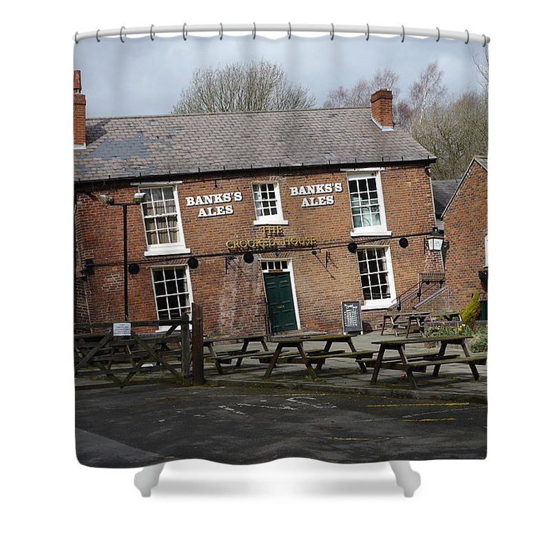 Crooked Shower Curtain featuring the photograph The Crooked House by John Chatterley