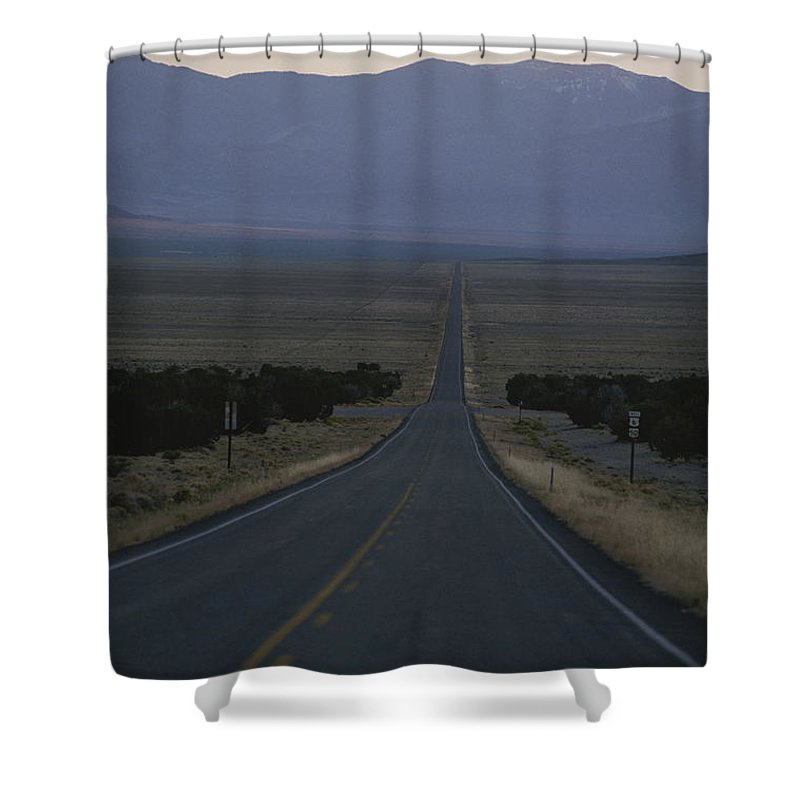 North America Shower Curtain featuring the photograph The Desolate Highway 50 by George F. Mobley