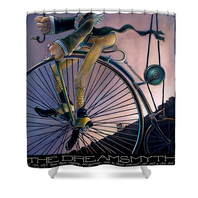 Velocipede Shower Curtain featuring the painting The Dreamsmyth by Patrick Anthony Pierson