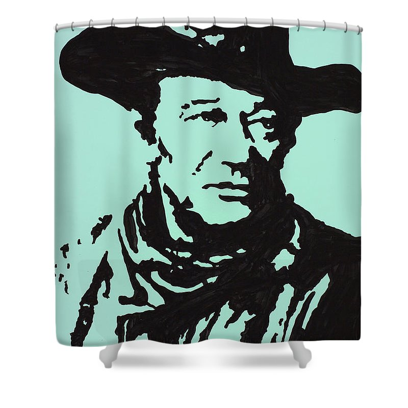 John Wayne Shower Curtain featuring the drawing The Duke In Color by Robert Margetts