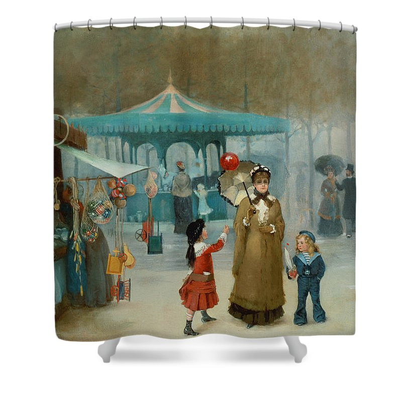 The Shower Curtain featuring the painting The Fairground by Henry Jones Thaddeus