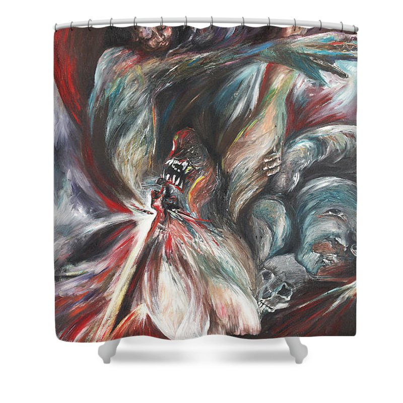 Suicide Shower Curtain featuring the painting The Falling Figure by Francine Stuart