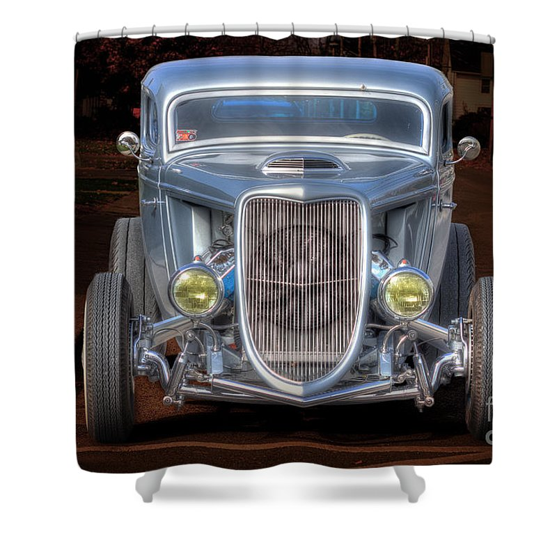Day Shower Curtain featuring the photograph The Ford Grill by John Herzog