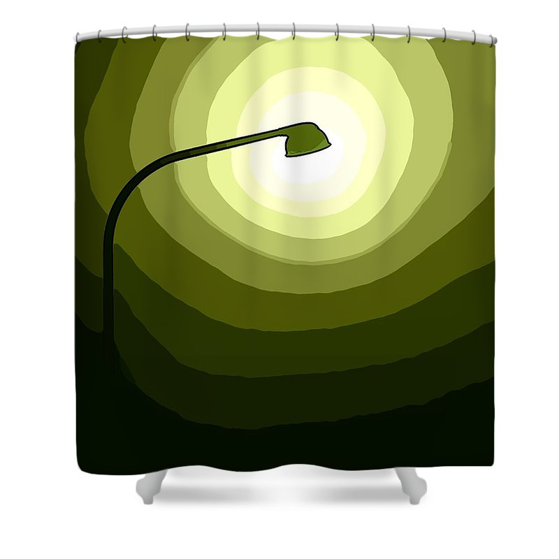 Laterne Lamp Lantern Lamp-post Light Shine Modern Oil Painting Darkness Shadow Energy Abstract Beam Ray Halo Flash Reflactor Simply Simplicity Green White Plain Grass Field Color Colorful  Shower Curtain featuring the digital art The Future Is Green by Steve K