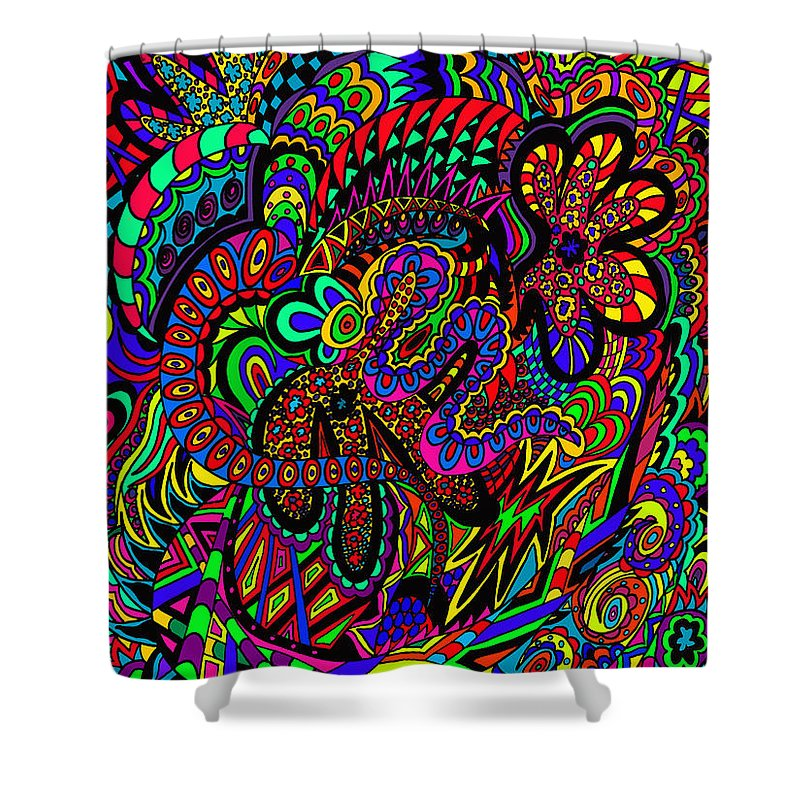 Doodles Shower Curtain featuring the drawing The Garden by Karen Elzinga