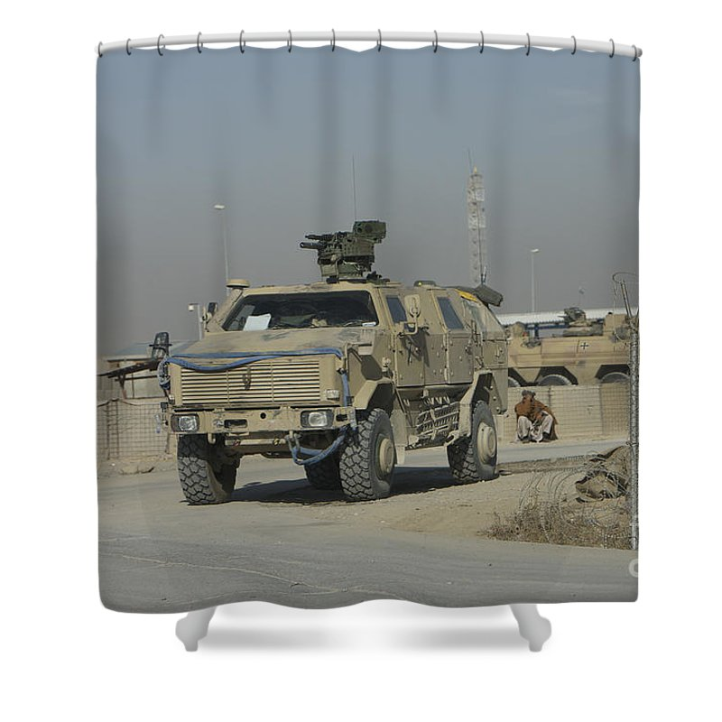 Mrap Shower Curtain featuring the photograph The German Army Atf Dingo With A Turret by Terry Moore