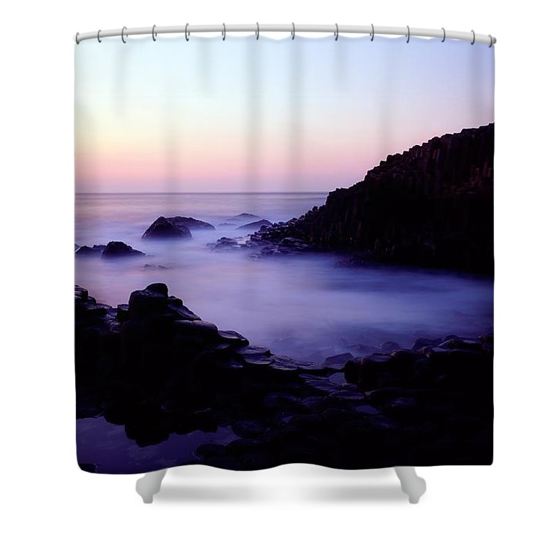 Back Lit Shower Curtain featuring the photograph The Giants Causeway, Co Antrim, Ireland by The Irish Image Collection