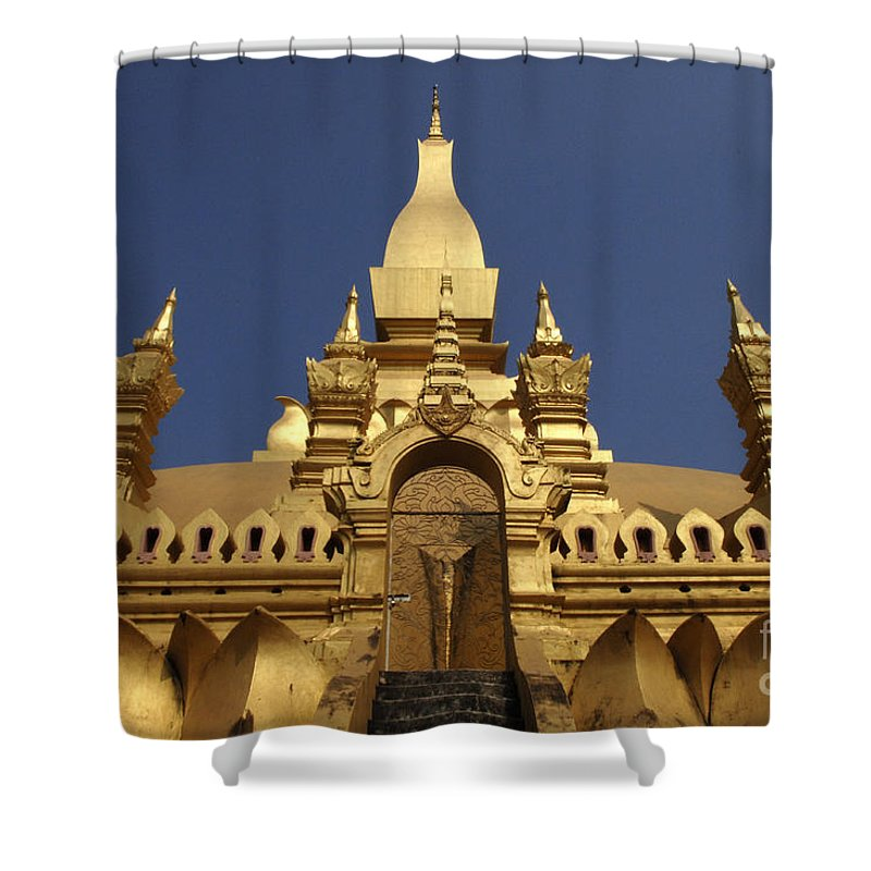 Vientienne Shower Curtain featuring the photograph The Golden Palace Laos by Bob Christopher