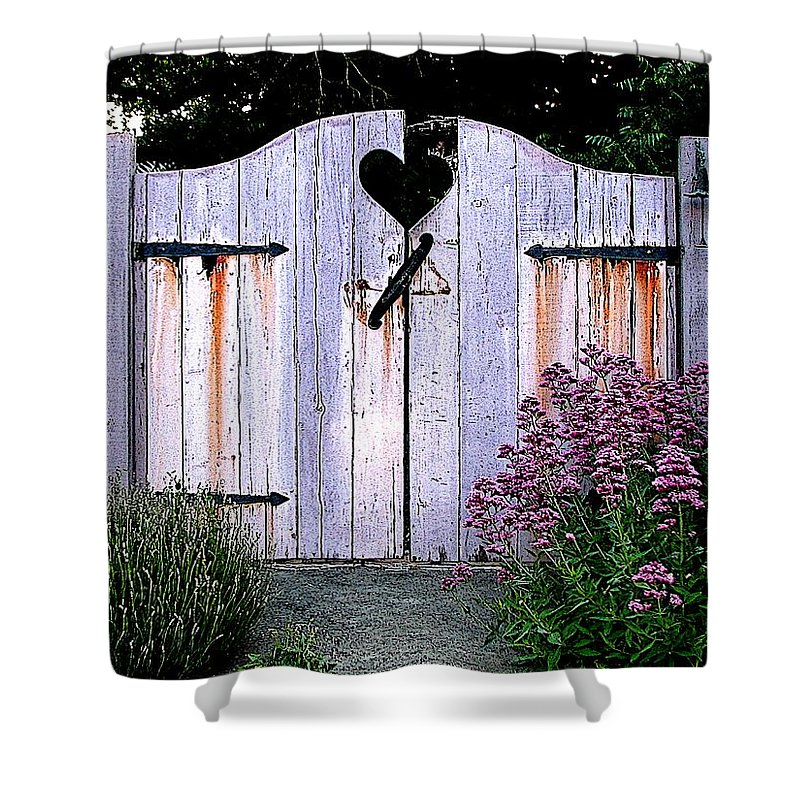 Fence Shower Curtain featuring the digital art The Heart, Like An Old Gate Needs Care And Attention by Ben Freeman